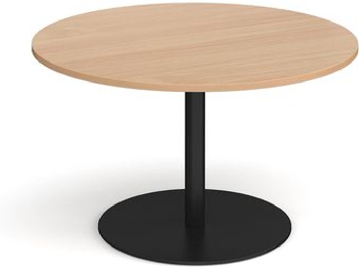 Eternal Eternal circular boardroom table 1200mm - black base and beech top