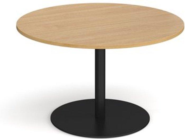 Eternal Eternal circular boardroom table 1200mm - black base and oak top