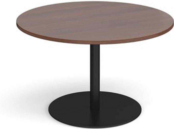 Eternal Eternal circular boardroom table 1200mm - black base and walnut top