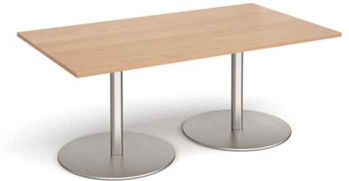 Eternal Eternal rectangular boardroom table 1800mm x 1000mm - brushed steel base and beech top