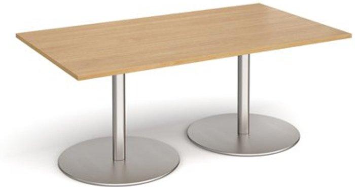 Eternal Eternal rectangular boardroom table 1800mm x 1000mm - brushed steel base and oak top