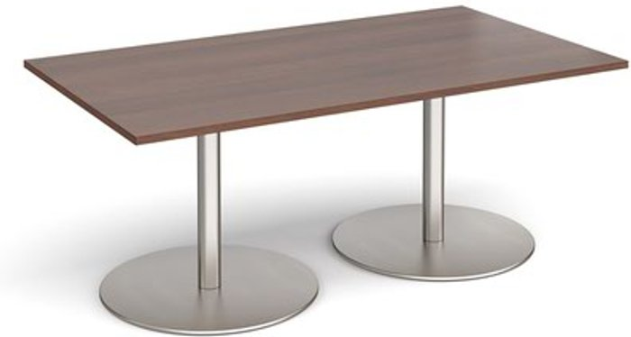 Eternal Eternal rectangular boardroom table 1800mm x 1000mm - brushed steel base and walnut top
