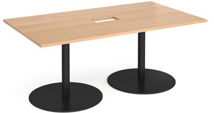 Eternal Eternal rectangular boardroom table 1800mm x 1000mm with central cutout 272mm x 132mm - black base and beech top