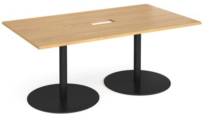 Eternal Eternal rectangular boardroom table 1800mm x 1000mm with central cutout 272mm x 132mm - black base and oak top