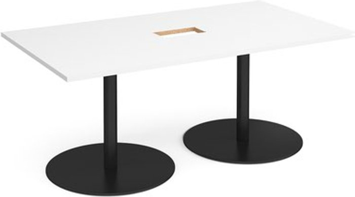 Eternal Eternal rectangular boardroom table 1800mm x 1000mm with central cutout 272mm x 132mm - black base and white top