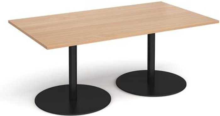 Eternal Eternal rectangular boardroom table 1800mm x 1000mm - black base and beech top