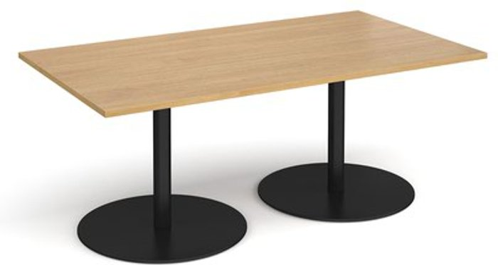 Eternal Eternal rectangular boardroom table 1800mm x 1000mm - black base and oak top