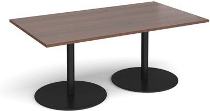 Eternal Eternal rectangular boardroom table 1800mm x 1000mm - black base and walnut top