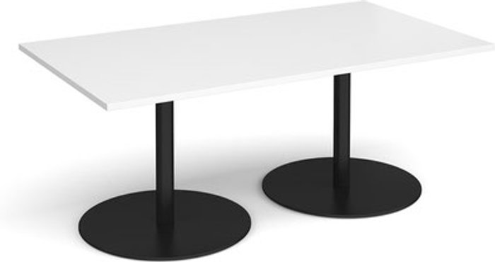 Eternal Eternal rectangular boardroom table 1800mm x 1000mm - black base and white top