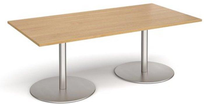 Eternal Eternal rectangular boardroom table 2000mm x 1000mm - brushed steel base and oak top