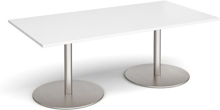Eternal Eternal rectangular boardroom table 2000mm x 1000mm - brushed steel base and white top