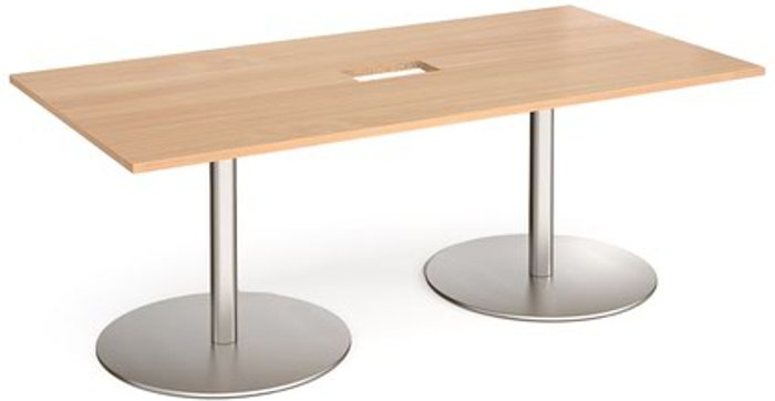 Eternal Eternal rectangular boardroom table 2000mm x 1000mm with central cutout 272mm x 132mm - brushed steel base and beech top