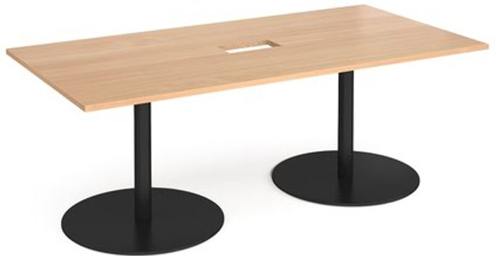 Eternal Eternal rectangular boardroom table 2000mm x 1000mm with central cutout 272mm x 132mm - black base and beech top