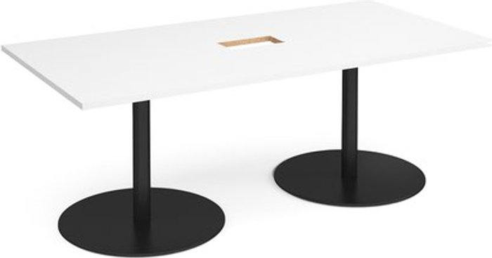 Eternal Eternal rectangular boardroom table 2000mm x 1000mm with central cutout 272mm x 132mm - black base and white top