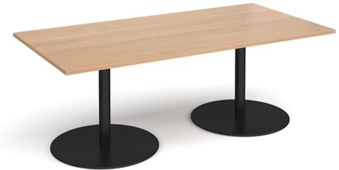 Eternal Eternal rectangular boardroom table 2000mm x 1000mm - black base and beech top