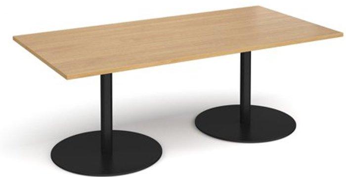Eternal Eternal rectangular boardroom table 2000mm x 1000mm - black base and oak top