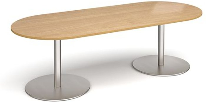 Eternal Eternal radial end boardroom table 2400mm x 1000mm - brushed steel base and oak top
