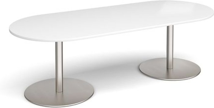 Eternal Eternal radial end boardroom table 2400mm x 1000mm - brushed steel base and white top
