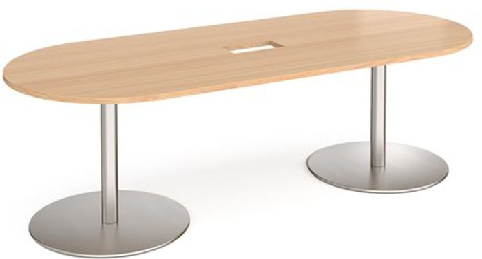 Eternal Eternal radial end boardroom table 2400mm x 1000mm with central cutout 272mm x 132mm - brushed steel base and beech top
