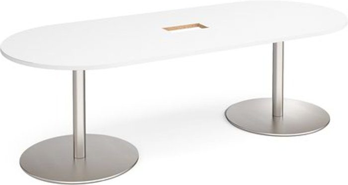 Eternal Eternal radial end boardroom table 2400mm x 1000mm with central cutout 272mm x 132mm - brushed steel base and white top