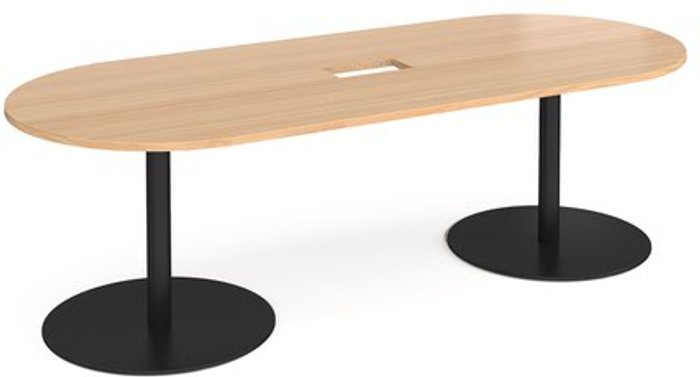 Eternal Eternal radial end boardroom table 2400mm x 1000mm with central cutout 272mm x 132mm - black base and beech top