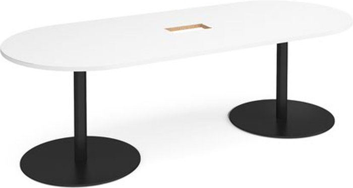 Eternal Eternal radial end boardroom table 2400mm x 1000mm with central cutout 272mm x 132mm - black base and white top