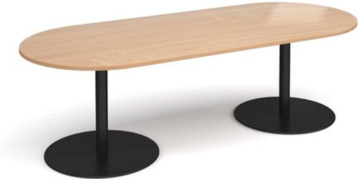 Eternal Eternal radial end boardroom table 2400mm x 1000mm - black base and beech top