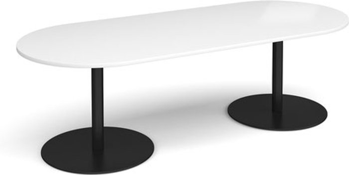 Eternal Eternal radial end boardroom table 2400mm x 1000mm - black base and white top