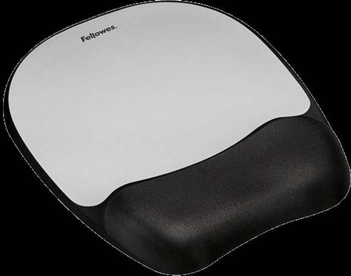 Fellowes Fellowes Memory Foam Mouse Pad Black/Silver 9175801