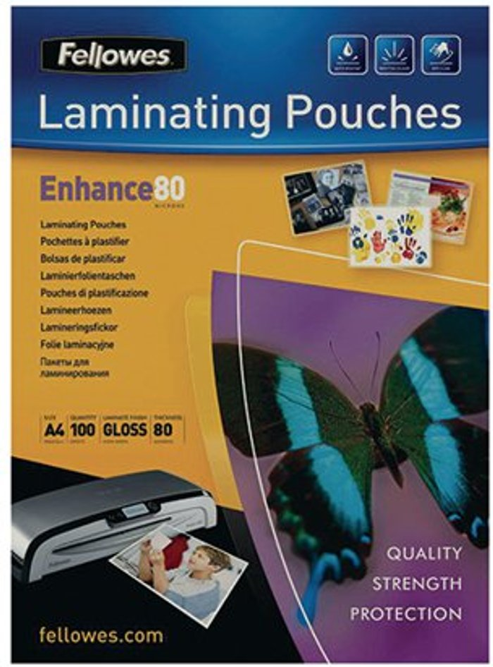Fellowes Fellowes A4 Laminating Pouch 160 Micron (Pack of 100) 55306101