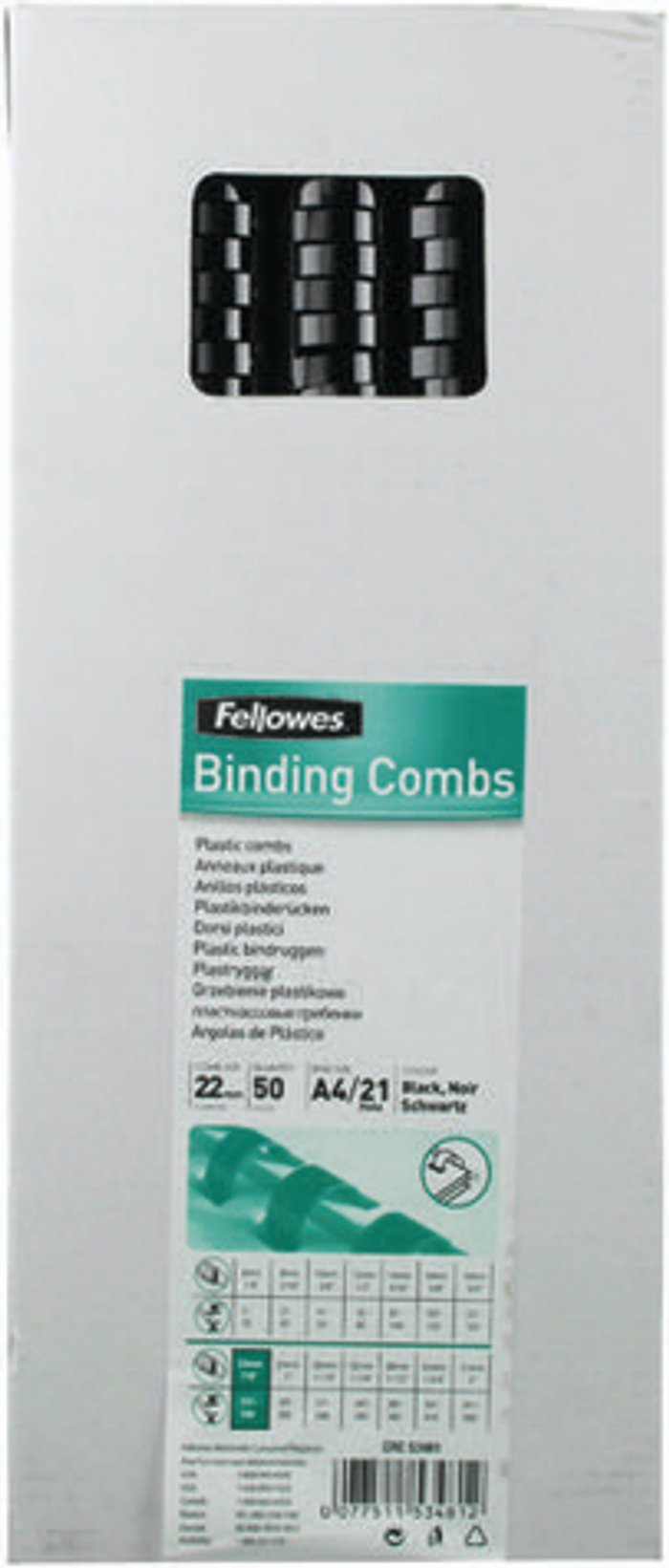 Fellowes Fellowes A4 Binding Combs 22mm Black (Pack of 50) 53481