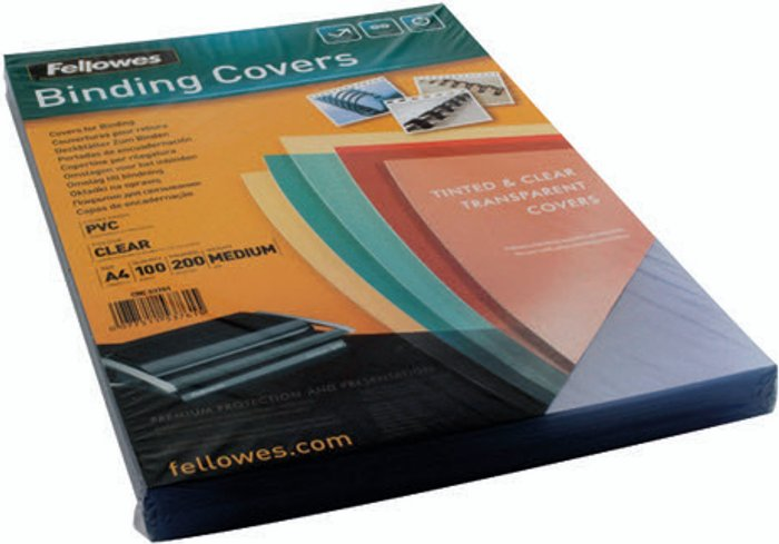 Fellowes Fellowes Transpsarent Plastic Covers 200 Micron (Pack of 100) 5376101