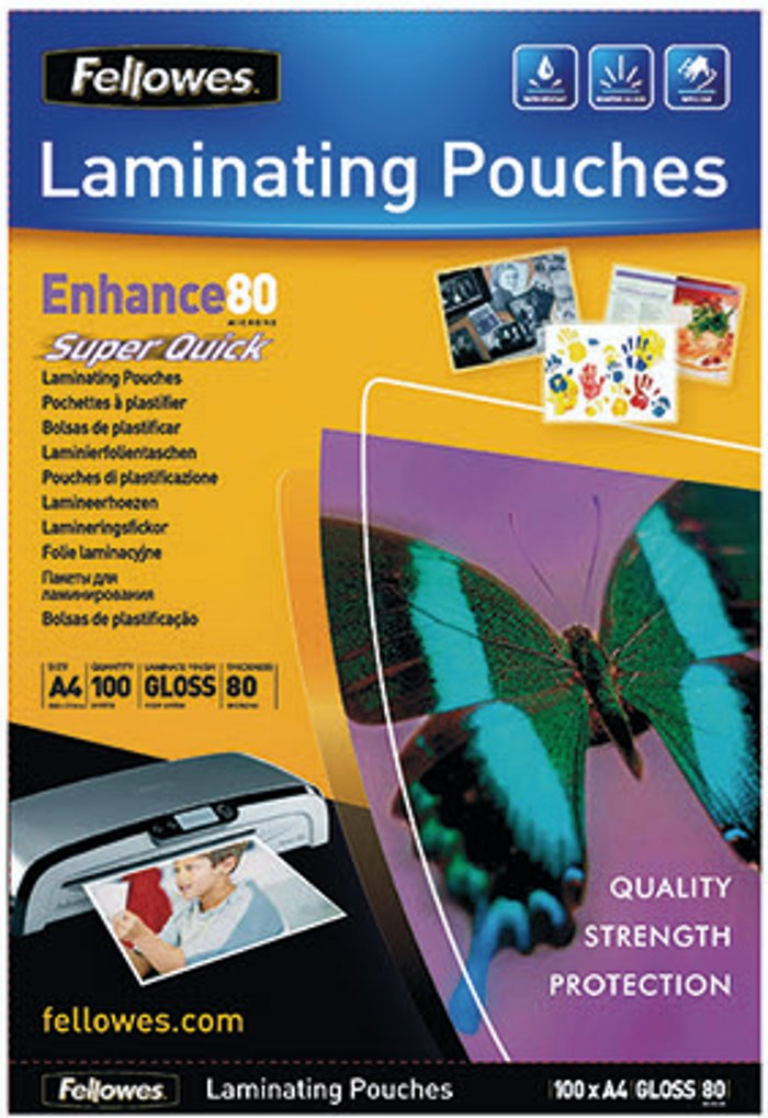 Fellowes Fellowes Super Quick A4 Laminating Pouches (Pack of 100) 5440001
