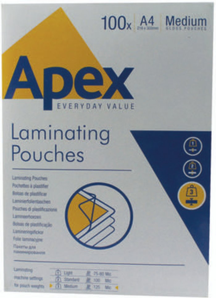Fellowes Fellowes Apex A4 Medium Laminating Pouches Clear (Pack of 100) 6003501