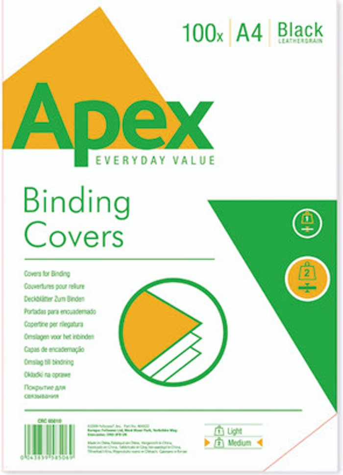 Fellowes Fellowes Apex A4 Leatherboard Covers Black (Pack of 100) 6501001