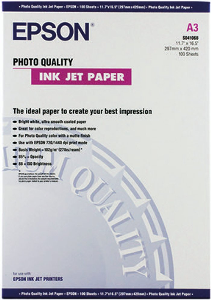 Epson Epson White Photo Inkjet A3 Paper 104gsm (Pack of 100) C13S041068