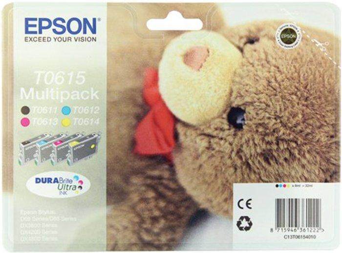 Epson Epson T0615 Black /Cyan/Magenta/Yellow Inkjet Cartridge (Pack of 4) C13T06154010 / T0615