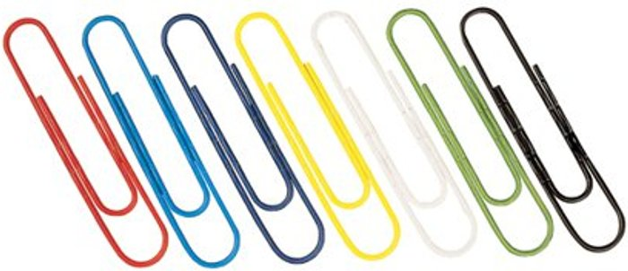 Essentials Paperclips Coloured 32mm (Pack of 1000) 30601