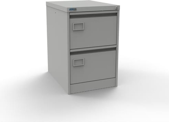 Executive Silverline Executive 2 Drawer Individually Locking Foolscap Filing Cabinet - Light Grey