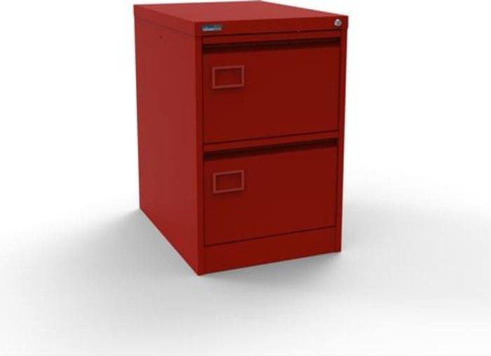 Executive Silverline Executive 2 Drawer Individually Locking Foolscap Filing Cabinet - Red