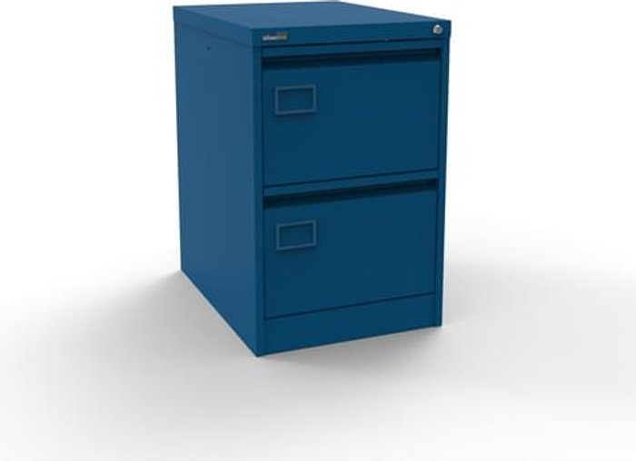 Executive Silverline Executive 2 Drawer Individually Locking Foolscap Filing Cabinet - Blue