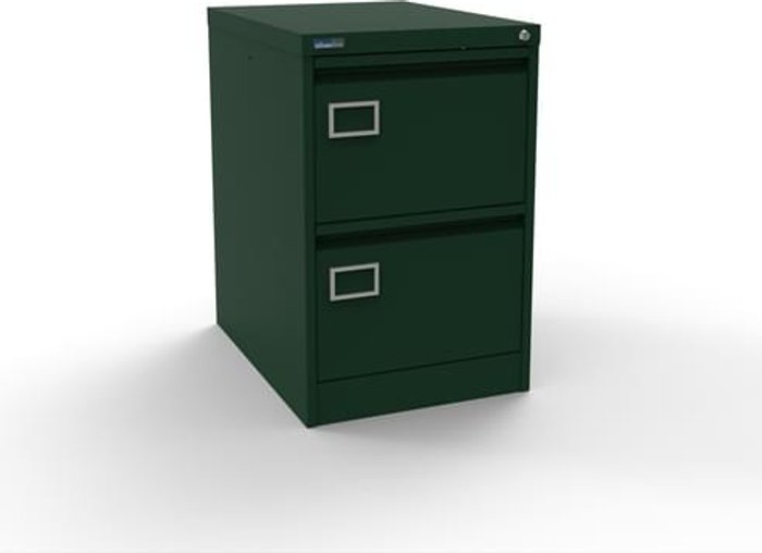 Executive Silverline Executive 2 Drawer Individually Locking Foolscap Filing Cabinet - British Racing Green