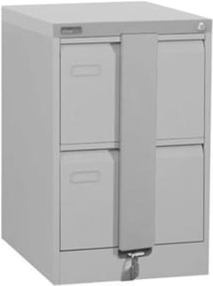 Executive Silverline Executive 2 Drawer Foolscap Filing Cabinet with Security Bar - Light Grey