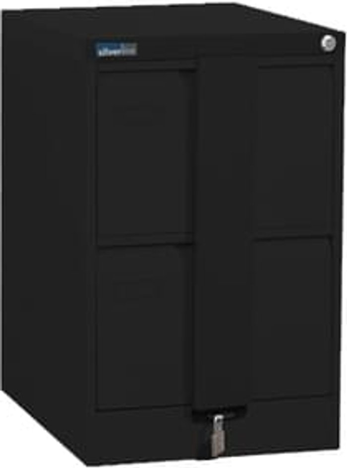 Executive Silverline Executive 2 Drawer Foolscap Filing Cabinet with Security Bar - Black