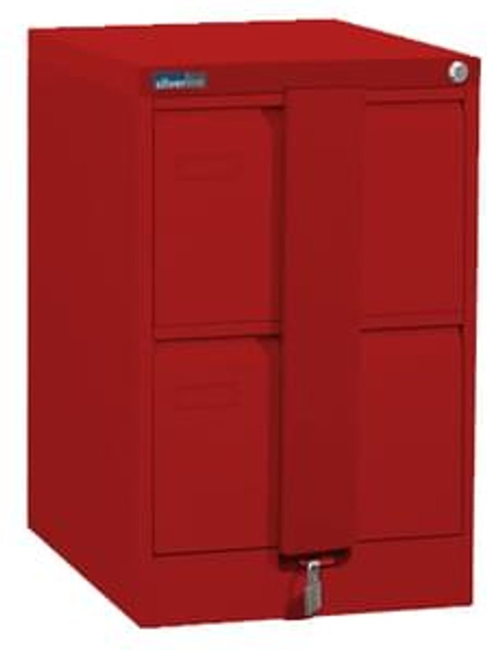 Executive Silverline Executive 2 Drawer Foolscap Filing Cabinet with Security Bar - Red