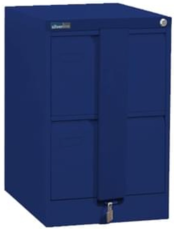 Executive Silverline Executive 2 Drawer Foolscap Filing Cabinet with Security Bar - Blue