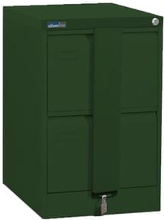 Executive Silverline Executive 2 Drawer Foolscap Filing Cabinet with Security Bar - British Racing Green