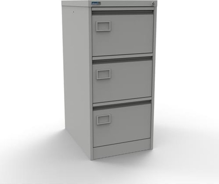 Executive Silverline Executive 3 Drawer Individually Locking Foolscap Filing Cabinet - Light Grey