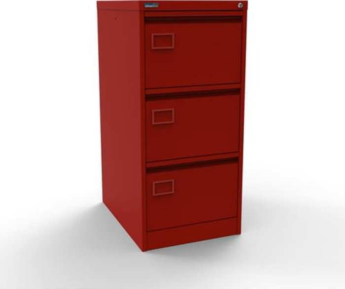 Executive Silverline Executive 3 Drawer Individually Locking Foolscap Filing Cabinet - Red