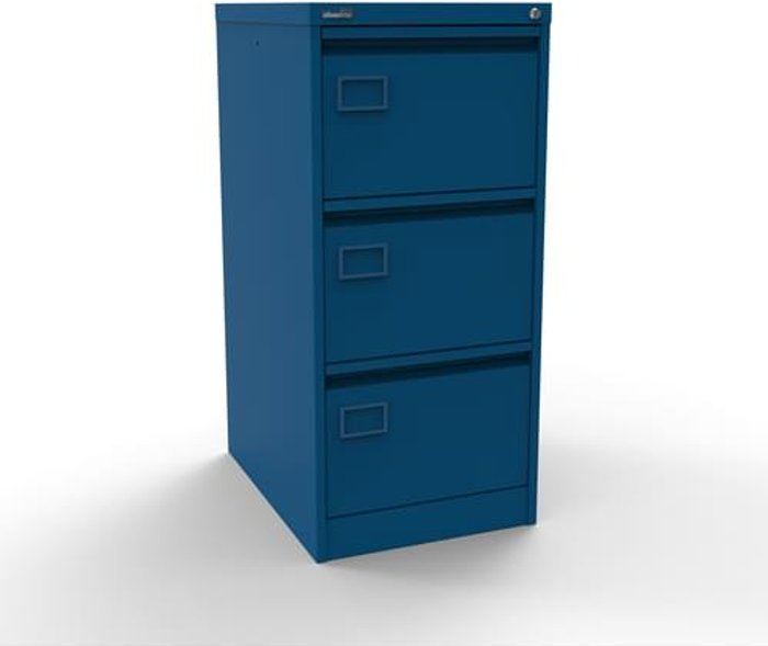 Executive Silverline Executive 3 Drawer Individually Locking Foolscap Filing Cabinet - Blue